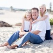 Handsome Dad and His Cute Daughters at The Beach — Stock Photo #16738815