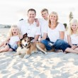 Stok fotoğraf: Happy Caucasian Family Portrait at the Beach