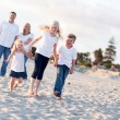 Adorable Caucasian Family on a Walk — Stock Photo #16739993
