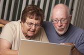 Smiling Senior Adult Couple Having Fun on the Computer — Stock Photo