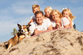 Happy Caucasian Family Portrait at the Beach — Stock Photo