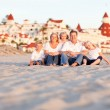 Foto de Stock  : Happy Caucasian Family in Front of Hotel Del Coronado