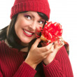 Happy Attractive Woman Holding Holiday Gift — Stock Photo #16740911