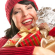 Happy Attractive Woman Holding Holiday Gift — Stock Photo
