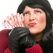 Pretty Young Woman Holding Candy Canes — Stock Photo