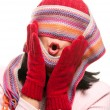 Attractive Woman With Colorful Scarf Over Eyes - Stockfoto