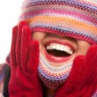 Attractive Woman With Colorful Scarf Over Eyes - Stock Photo