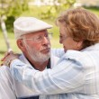 Happy Senior Couple in The Park — Stock Photo