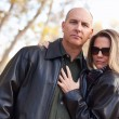 Stock Photo: Attractive Couple in Park with Leather Jackets