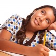 Pretty Hispanic Girl Studying and Daydreaming - Stock Photo