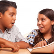Hispanic Brother and Sister Having Fun Studying — Stock Photo #16745531