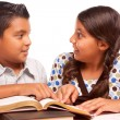 Hispanic Brother and Sister Having Fun Studying — Stock fotografie