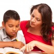 Attractive Hispanic Mother and Son Studying - 图库照片