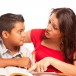 Attractive Hispanic Mother and Son Studying — Stock Photo