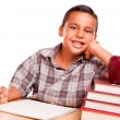 Adorable Hispanic Boy with Books, Apple, Pencil and Paper — Stock Photo
