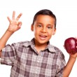 Stock Photo: Adorable Hispanic Boy with Apple and Okay Hand Sign