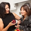 Pretty Hispanic Girl Ready for School with Mom — Stockfoto