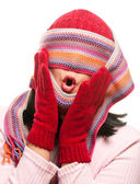 Attractive Woman With Colorful Scarf Over Eyes — Stock Photo