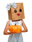 Girl Wearing a Blue Dress and Happy Bag Face — Stock Photo