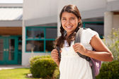 Cute Hispanic Teen Girl Student Ready for School — Stock Photo