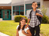 Cute Hispanic Brother and Sister Ready for School — Stock Photo