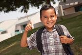 Happy Young Hispanic School Boy with Thumbs Up — Stock Photo