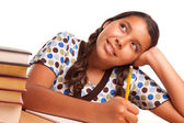Pretty Hispanic Girl Studying and Daydreaming — Stock Photo