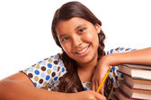 Pretty Smiling Hispanic Girl Studying — ストック写真