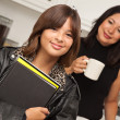 Pretty Hispanic Girl Ready for School with Mom — Stock Photo