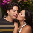 Happy Attractive Hispanic Couple At The Park — Stock Photo