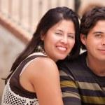 Happy Attractive Hispanic Couple At The Park — Stock Photo