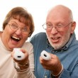 Stock Photo: Happy Senior Couple Play Video Game with Remotes