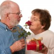 Happy Senior Couple with Gift and Red Rose - Stock Photo
