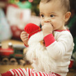Infant Baby Enjoying Christmas Morning Near The Tree — Stockfoto