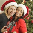 Young Mixed Race Girlfriends with Christmas Gift - Stock Photo