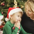 Young Mother and Baby Son Christmas Portrait — Stock Photo #16977871