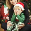 Young Mother and Baby Son Christmas Portrait — Stock Photo #16977881
