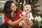 Ethnic Woman With Her Newborn Baby Christmas Portrait — Stock Photo