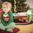 Young Boy Enjoying Christmas Morning Near The Tree — Stock Photo