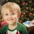 Young Boy Enjoying Christmas Morning Near The Tree — Stock Photo #17126307