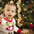 Infant Mixed Race Baby Enjoying Christmas Morning Near The Tree — Stock Photo #17126349