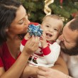 Young Mixed Race Family Christmas Portrait — Stock Photo