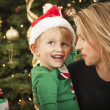 Young Mother and Baby Son Christmas Portrait — Stock Photo