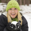 Attractive Woman Having Fun in the Snow — Stock Photo