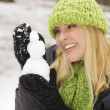 Attractive Woman Having Fun in the Snow - Stockfoto