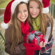 Two Smiling Women Santa Hats Holding a Wrapped Gift — 图库照片