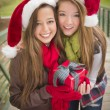 Foto de Stock  : Two Smiling Women Santa Hats Holding a Wrapped Gift