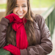 Pretty Woman Portrait Wearing Red Scarf and Mittens Outside — Stock Photo