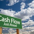 Cash Flow Green Road Sign - Stock Photo