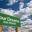 Your Dreams Green Road Sign - Stock Photo